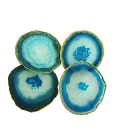 Set of 4 Agate Coasters, Aqua