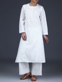 White Chikankari Embroidered Cotton Kurta