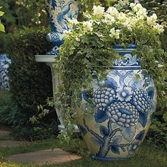 Blue and White Painted Planter: I love these tall ones with spillers.