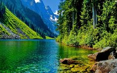 River nesr Mountains Nature Pictures