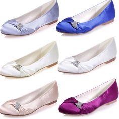 New Round Toe Satin Flat Heel Wedding Bridal Shoes Lady Evening Rhinestone Flats #KittenHeels