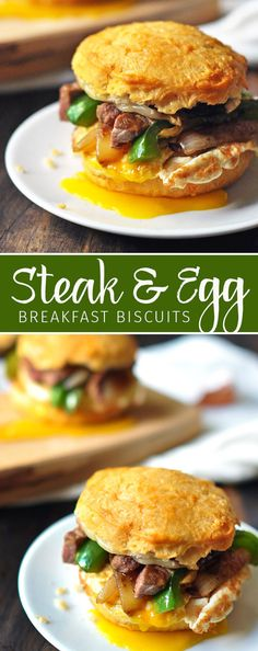 Steak and Egg Biscuits Recipe. A perfect use for leftover steak to create a delicious brunch right in the comfort of your own home! Steak Breakfast, Best Breakfast, Breakfast Recipes, Fall Recipes, Wine Recipes, Leftover Steak Recipes, Egg Biscuits, Steak And Eggs, Wonderful Recipe