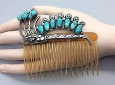 Navajo Vintage Sterling Silver Hair Comb with Sleeping Beauty Turquoise   eBay