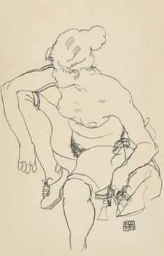 Egon Schiele, Frau sitzend mit Schuhen (Seated Woman with Shoes), Black crayon on paper, 46 x cm Life Drawing, Drawing Sketches, Painting & Drawing, Art Drawings, Drawing Hands, Figure Sketching, Figure Drawing, Klimt, Egon Schiele Zeichnungen