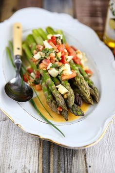 Asparagus with Truffle Oil, Egg and Tomato Dressing