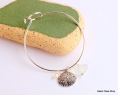 Sea Glass Bangle Bracelet Lake Erie FREE by beachglassshop on Etsy, $33.00