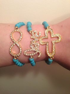 Arm Candy Set of 3 Turquoise & Gold Crystal Cross Love & Infinity Sideways Fashion Bracelet Set from ACCESSORIES AFFAIR