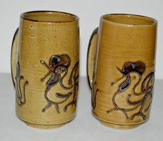 2 Vtg Rooster Floral Ceramic Coffee Mugs Cups Brown Raised Design Set Lot 5.5""
