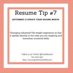 Resume Writing Tips For September Update Your Resume Month. Resume Tip #7 #  Resume
