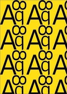 Interstate, Tobias Frere-Jones, 1993. Pattern 1 (colore). 'regolare': A,8,q, Interstate Light, regular. Ho scelto il colore giallo perché questo carattere tipografico viene utilizzato da diverse aziende famose per i loro loghi, e una di queste è la Lamborghini.
