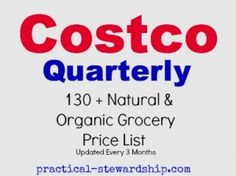 Costco Quarterly price list of organic & natural foods