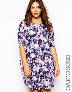 ASOS CURVE - Tshirt Dress In Painterly Floral Print