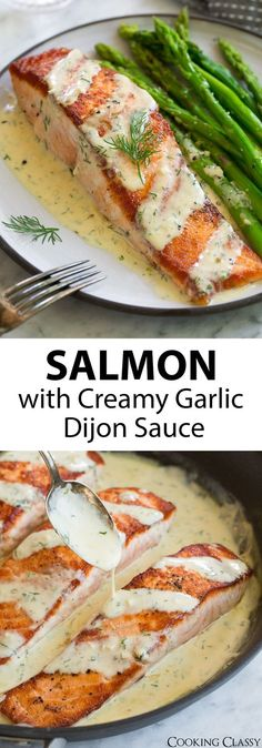 Salmon with Creamy Garlic Dijon Sauce - This is such a flavorful, elegant salmon. - Salmon with Creamy Garlic Dijon Sauce – This is such a flavorful, elegant salmon recipe that anyo - New Recipes, Cooking Recipes, Favorite Recipes, Healthy Recipes, Dinner Recipes, Quick Salmon Recipes, Salmon Recepies, Recipies, Cooked Salmon Recipes