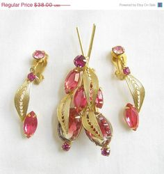 Vintage JULIANA Style Pinks Givre Cut Glass and Rhinestones Filigree Bug Brooch and Dangle Earrings Demi Parure Set by MyVintageJewels, $33.25