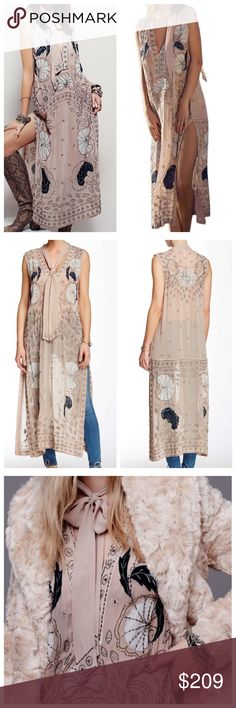 """Free People Stuck On You Maxi Dress NWT Incredible sand combo colored dress by Free People with v-neck, self ties at neck, beaded detailing throughout and side slits. Not lined. 100% Viscose. Hand wash cold. Bust 44"""", Length 47"""" Length to side slits 25"""". Free People Dresses Maxi"""