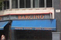 Tienda de material de oficina BARCINO, topónimo latino. Calle Urgell, Barcelona.