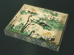 """Square Dish with Spring Flowers. Ogata Kenzan (1663~1743), 尾形乾山   Japanese Rinpa School. This was in the Met's 2012 exhibition: """"Designing Nature: The Rinpa Aesthetic in Japanese Art."""""""
