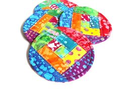 Rainbow Quilted Coaster Set, Batik Fabric Coasters, Colorful Mug Rugs