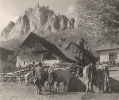 Ján Halaša Pri napájadle. Vršatecké Podhradie 1937 Old Photography, Mount Everest, Mount Rushmore, Westerns, Nostalgia, Black And White, Mountains, Retro, Painting