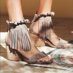 Free People Brentwood Fringe Heels 38 8 NWB Suede Free People Brentwood Fringe Heel Size 38  Taupe/Tan  Brand new with box.  Sold out everywhere! Style: 34845891 Open-toe suede block heel sandals with a fringe ankle wrap and easy zip backs. *By Matiko By: Matiko Suede Import Free People Shoes Heels