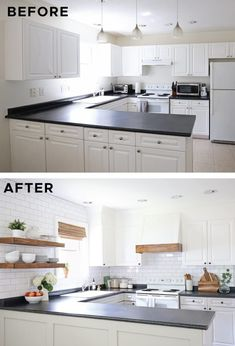 A DIY kitchen makeover on a budget of $1000! This budget kitchen makeover uses DIY projects to add character and warmth to a bland, builder grade kitchen. See the reveal, video tour, and before and after photos of this modern farmhouse kitchen remodel with links to all of the how to projects and sources! Kitchen Island Makeover, Diy Kitchen Island, Kitchen On A Budget, Kitchen Ideas, Painting Laminate Kitchen Cabinets, Diy Furniture Projects, Diy Projects, Builder Grade Kitchen, Cuisines Diy