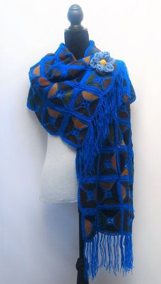 Leather Shawl Wrap/ Scarf/ Skirt Wrap/ Head Wrap/ Couch Throw/ Wall Hang/ House Decor - crocheted patchwork - reversible, Royal Blue by RezahDesignStudio on Etsy