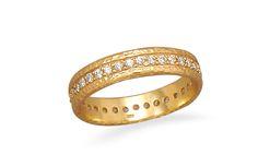 14 Karat Gold Plated CZ Eternity Ring