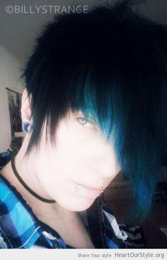 blue - Heart Our Style - billystrange blue hair emo scene