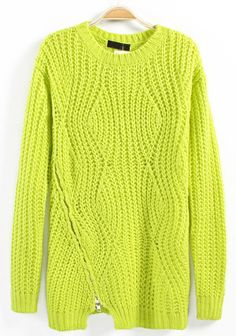 Green Asymmetric Zipper Round Neck Cotton Blend Sweater