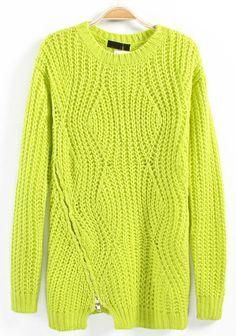 Green Asymmetric Zipper Round Neck Cotton Blend Sweater