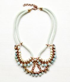 Seil Statement Halskette mit Amazonit Perlen