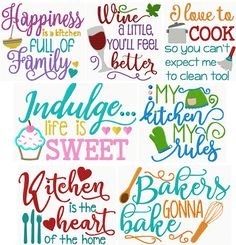 Machine Embroidery Projects Kitchen Sayings Exclusive II - Hoop Size: Commercial Embroidery Machine, Free Machine Embroidery Designs, Embroidery Applique, Embroidery Ideas, Embroidery Jewelry, Applique Monogram, Butterfly Embroidery, Vinyl Projects, Sewing Projects