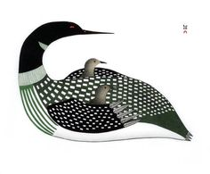 Cradled Loons, by Ningeokuluk Teevee (Inuit artist), Cape Dorset, 2009 -- Stonecut and stencil