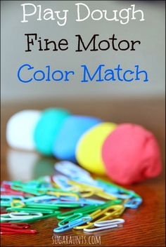 """Color matching play dough activity with learning and fine motor play. This is a great activity to """"warm up"""" the hands before a handwriting task."""