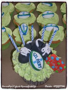 Sweetarts, Cupcake Toppers, Rugby, Fondant, Icing, Connect, Cake Decorating, Cupcakes, Sport