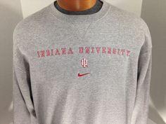 Indiana University Hoosiers Nike Crew Neck Heather Gray Sweater S Cotton #Nike #IndianaUniversity #NCAA
