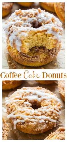 Coffee Cake Donuts topped with Vanilla Glaze! Ready in less than 30 minutes. Coffee Cake Donuts with Vanilla Glaze - Baked, not fried, these Coffee Cake Donuts are ready in less than 30 minutes. The Vanilla Glaze makes them irresistible! Baked Donut Recipes, Baked Doughnuts, Baking Recipes, Cake Recipes, Dessert Recipes, Donuts Donuts, Fried Cake Donut Recipe, Donut Cakes, Healthy Baked Donuts