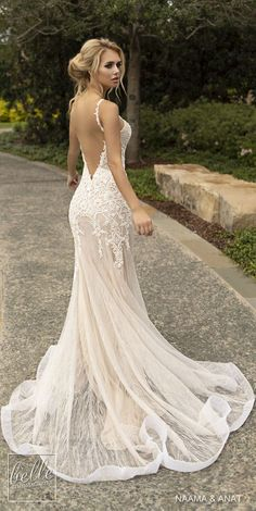 Wedding Dress Naama and Anat Wedding Dresses 2019 - Gowns of Wisdom Bridal Collection. sleeveless thin strap deep v neck heavily embellished bodice elegant fit and flare wedding dress open low back backless chapel train Open Back Wedding Dress, Gorgeous Wedding Dress, Fall Wedding Dresses, Bridal Dresses, Fall Dresses, Backless Wedding Dresses, V Neck Fit And Flare Wedding Dress, Modest Wedding, Couture Dresses