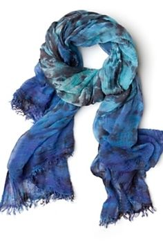 black over blue tie dye scarf