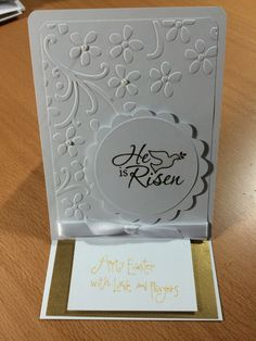 Easter Greeting Card with Stampin Up Embossing Folder and He is Risen Stamp.  Easel fold.