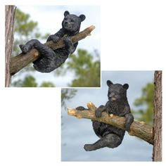 """13"""" Garden Tree Wildlife Black Bear Cubs Sculpture Statue Figurine - Set of 2 by XoticBrands. $121.54. Classic Statues Sculptures. Cast in quality designer resin. They may not be real, but youll think they are! Our over foot-long, Design XBbear cub statues are realistically sculpted on their own branches with the oversized paws and mischievous expressions of playful black bear cubs. Both garden bear sculptures are cast complete with realistic branches inhand-pai..."""