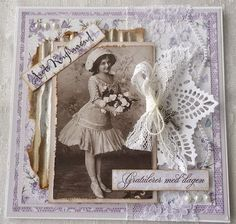 Unusually designed heritage page with a pretty lace background, doily and lace ribbon contrasting with inked and distressed corrugated cardboard photo matting.