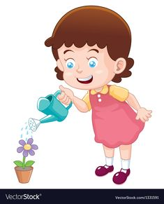 Little girl watering flower Royalty Free Vector Image Happy Birthday Frame, Birthday Frames, Kids Cartoon Characters, Cartoon Kids, Cartoon Garden, Action Pictures, Flashcard, Spring Theme, Water Flowers