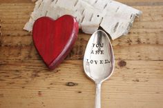 You Are Loved -Hand Stamped Spoon - Vintage Gift - Red Love - forsuchatimedesigns. $13.00, via Etsy.