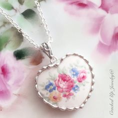 Broken China Jewelry Broken China Necklace, Pink Rose China Heart, by CrackedUpJewelry