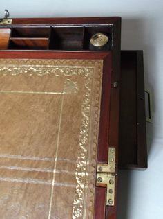 Mahogany brass bound Campaing writing slope
