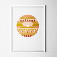 PEACHY SPHERE / Poster A3 modern, geometrical print, summer pastel colours