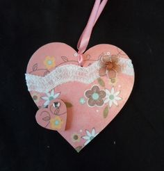 10 cm decorated hanging heart (pink) £4.00