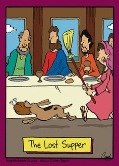 Religious humor The lost supper Christian Comics, Christian Cartoons, Christian Jokes, Christian Art, Funny Shit, The Funny, Hilarious, Funny Stuff, Funny Things