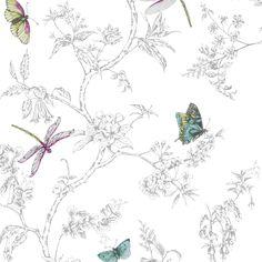 Graham & Brown Contour White & Silver Nature Trail Kitchen & Bathroom Wallpaper   Departments   DIY at B&Q